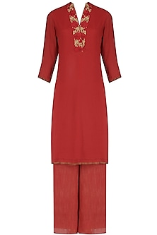 Red moonga embroidered straight kurta and palazzo set