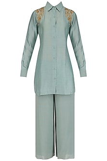 Aqua sage short embroidered chanderi kurta and culottes set