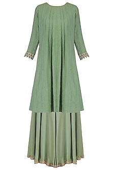 Sage green pleated moonga pashmina flared kurta and sharara set