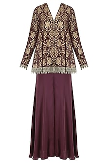 Plum handloom brocade embellished pashtun and sharara set