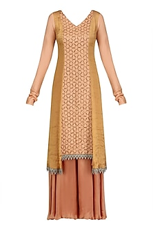 Flesh Color Assymetrical Banarasi and Moonga Embroidered Kurta Set
