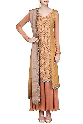 Flesh Color Assymetrical Banarasi and Moonga Embroidered Kurta Set by Divya Gupta