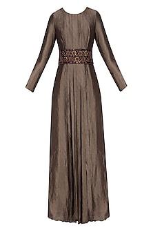Plum banarasi silk pleated dress and floral embroidered belt