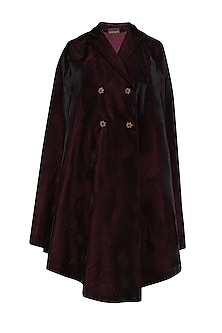 Plum floral motifs double breasted velvet cape by Divya Gupta