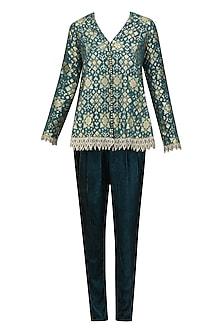 Teal Blue Brocade Embellished Pashtun with Velvet Pants by Divya Gupta