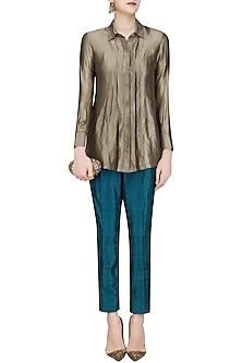 Gold Stripe Pleated Button Down Shirt by Divya Gupta