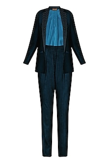 Teal Blue Embroidered Lapel Blazer and Pants Suit