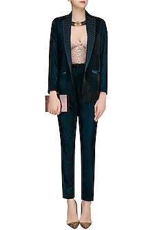 Teal Blue Embroidered Lapel Blazer and Pants Suit by Divya Gupta