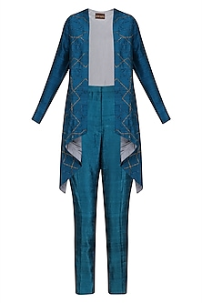 Teal Blue Front Open Cape and Pant Suit by Divya Gupta