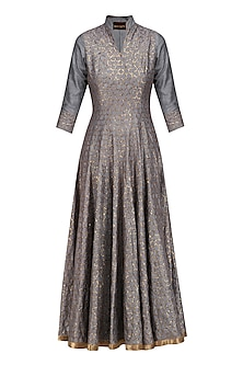 Grey Tilla Embroidered Kalidaar 'Farsi Firaq' Kurta with Dupatta