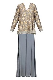 Grey Brocade Embellished Pashtun and Sharara Pants Set