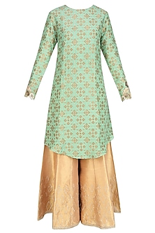 Sage Green Zardozi Embroidered Kurta With Golden Shimmer Sharara Pants