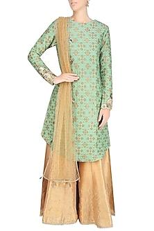 Sage Green Zardozi Embroidered Kurta With Golden Shimmer Sharara Pants by Divya Gupta