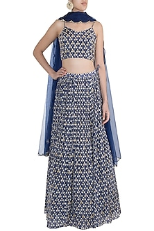 Blue Embroidered & Printed Lehenga Set by Ease