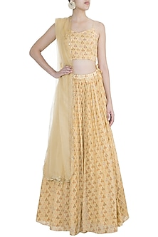 Yellow Embroidered & Printed Lehenga Set by Ease