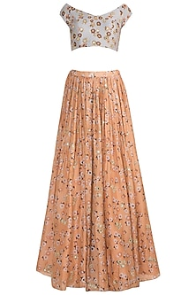 Peach & Light Lilac Embroidered Printed Lehenga Set by Ease
