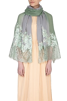 Olive Green Ombre Embroidered Lace Stole by Eastern Roots