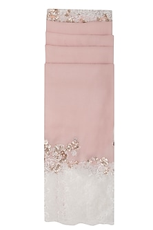 Baby Pink Embroidered Lace Stole by Eastern Roots