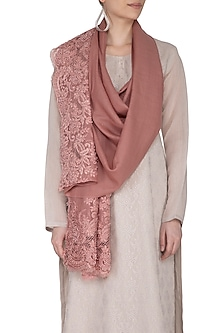 Dark Onion Pink Embroidered Lace Stole by Eastern Roots