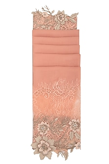 Peach Embroidered Lace Stole by Eastern Roots