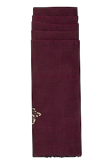 Burgundy Purple Reversible Embroidered Stole by Eastern Roots