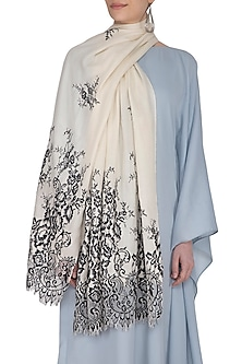Cream & Black Floral Lace Stole by Eastern Roots