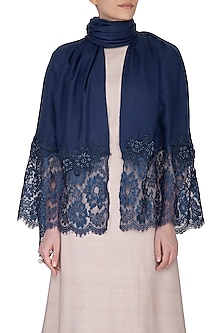 Dark Blue Beads Embroidered Stole by Eastern Roots