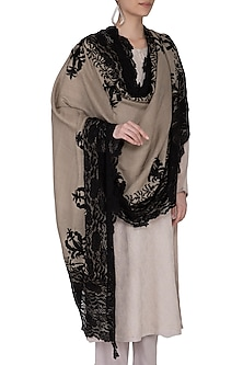 Beige Thread Embroidered Shawl by Eastern Roots
