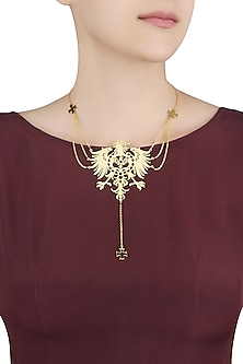 Gold Plated Fearless Multiple Chains Lariat Necklace