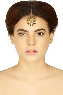 Gold plated lotus fractal maang tikka by Eina Ahluwalia