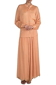 Peach Embroidered Top With Flared Pants by Ease