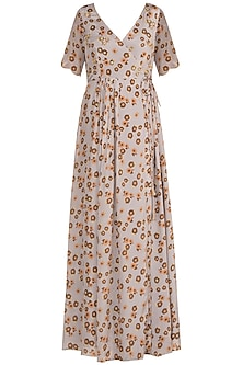 Light Lilac Embroidered Printed Tie-Up Anarkali Kurta by Ease