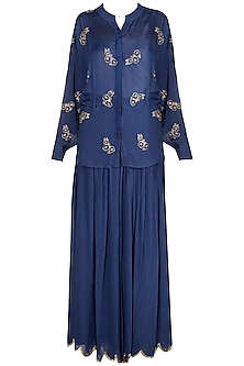 Royal Blue Embroidered Top With Flared Palazzo Pants by Ease