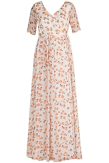 White Embroidered Printed Tie-Up Kurta by Ease