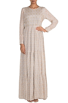 Light Lilac Embroidered Printed Maxi Dress by Ease