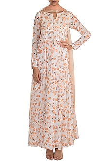 White Embroidered Printed Layered Anarkali With Dupatta by Ease