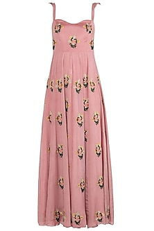 Mauve Floral Embroidered Anarkali Gown Set