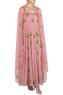 Mauve Floral Embroidered Anarkali Gown Set by Ease