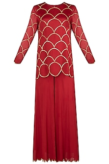 Red Embroidered Kurta with Palazzo Pants Set