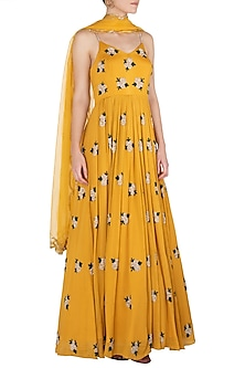Mustard Yellow Embroidered Anarkali Gown Set by Ease