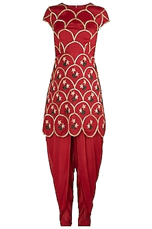 Red Embroidered Kurta with Dhoti Pants Set