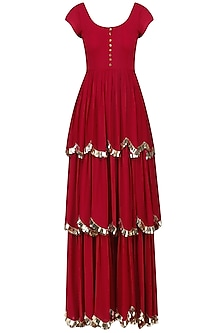 Crimson Red Embroidered Layered Anarkali Set by Ease