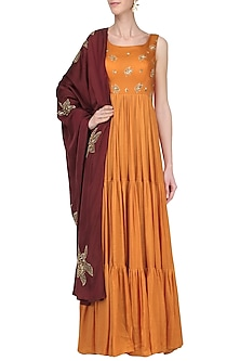 Mustard Embroidered Anarkali Set by Ease
