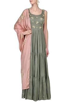 Dark Grey and Mauve Embroidered Anarkali Set by Ease