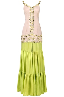 Blush Pink and Lime Embroidered Sharara Set by Ease