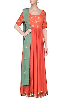 Peach Orange Embroidered Anarkali Set by Ease