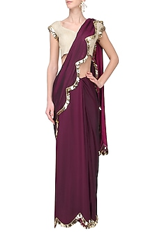 Wine Two Tone Tasseled Saree and Gold Blouse by Ease