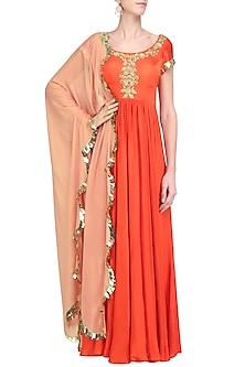 Orange and Mauve Embroidered Anarkali Set by Ease