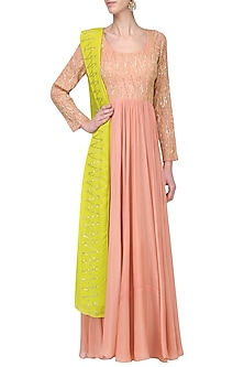 Light Salmon Pink Embroidered Anarkali Set by Ease