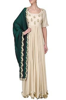 Off White and Rama Green Embroidered Anarkali Set by Ease